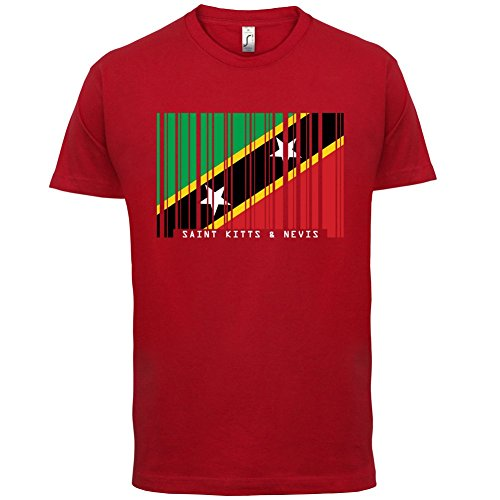 Saint Kitts and Nevis / St. Kitts und Nevis Barcode Flagge - Herren T-Shirt - Rot - XL