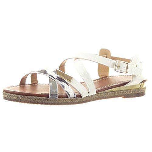 Sopily - Zapatillas de Moda Sandalias Gladiator Caña baja mujer brillantes cuerda Piel de serpiente Talón Plataforma 2.5 CM - Blanco