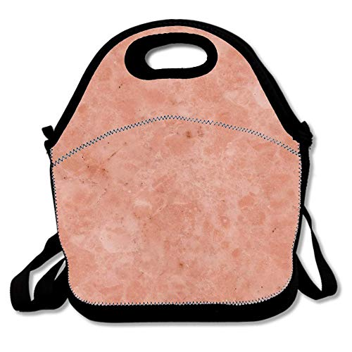 Rosa Marble - Lunch Tote Bag Portable Handbag Lunch Box, Ettore Rosa Marble Salmon Pink Insulated Food Container For Boys&Girls School Picnic Office Travel Outdoor