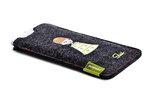 ALMWILD® Hülle Tasche Apple iPhone 8,7, 6s / 6 Schiefer – Grau, Schwarz. Modell KAISERHOF – Sissi Sportliches Outfit. Case handgefertigt in Bayern 100% Merinofilz