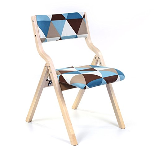 WEI MING-Chair Fashion Folding Armchair Study Desk Computer Solid Wood Backrest Leisure Chair Dining Chair (blue lattice cloth) ()
