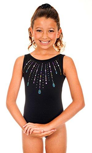 TumbleWear Girl's Simone Jewels Leotard (Child:6-7, Black)