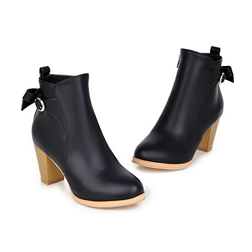 Solid Allhqfashion Black PU Toe Heels top Low Round High Boots Women's Closed POqrPg8
