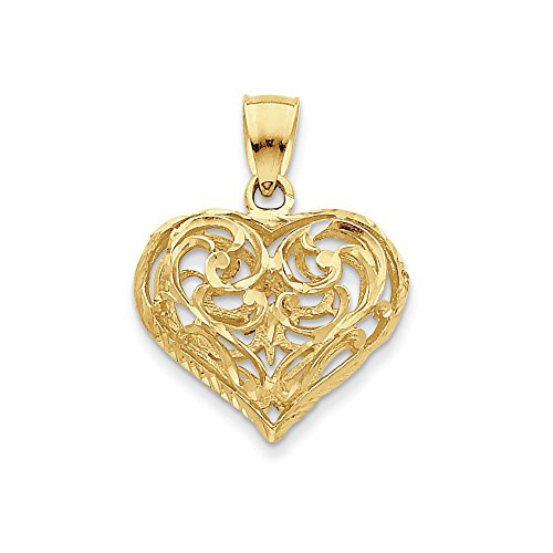 - 14K Gold 3-D Diamond-cut Open Filigree Heart Pendant (1.14 in x 0.91 in)