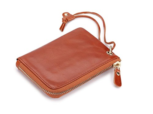 Jamarna Genuine Leather Coin Purse Fashion Card Coin Holder Wristlet Wemen Wallet Oil Wax Leather Mini Wallet (Soil yellow)