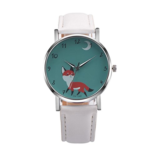 AIMTOPPY Retro Cartoon Fox Design Leather Band Analog Alloy Quartz Wrist Watch (White)