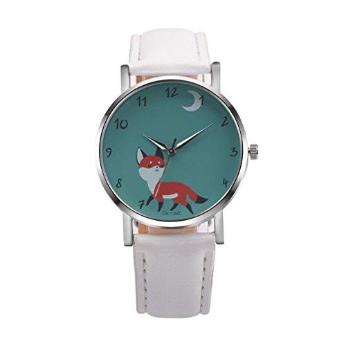 AIMTOPPY Retro Cartoon Fox Design Leather Band Analog Alloy Quartz Wrist Watch (White) Style Alloy Analog