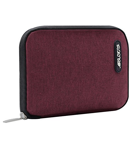 MOSISO Storage Bag Compatible MacBook Laptop Charger, Travel Electronics Accessories Organizer for Notebook Power Adapter, Hard Drive, Cable, Mouse, SSD, HDD, Charging Cord, USB Charger, Wine ()