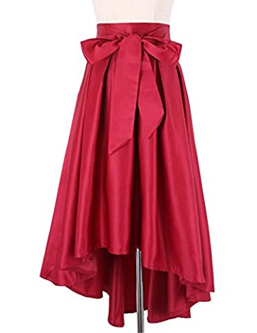 Gameyly Women's Ribbon Bow Belted High Low Prom Skirt One Size Red