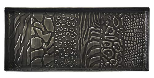 HF by LT Animal Skins Design Metal Boot Tray, 30'' x 13'', Antique Zinc Finish by HOME FURNISHINGS BY LARRY TRAVERSO