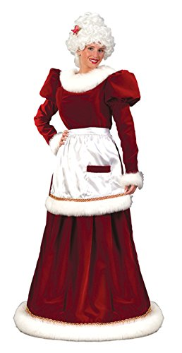 Mrs. Santa Claus Velvet Dress Adult Womens Costume Christmas Holiday Long Gown, Plus (16-24) (Mrs Claus Plus)
