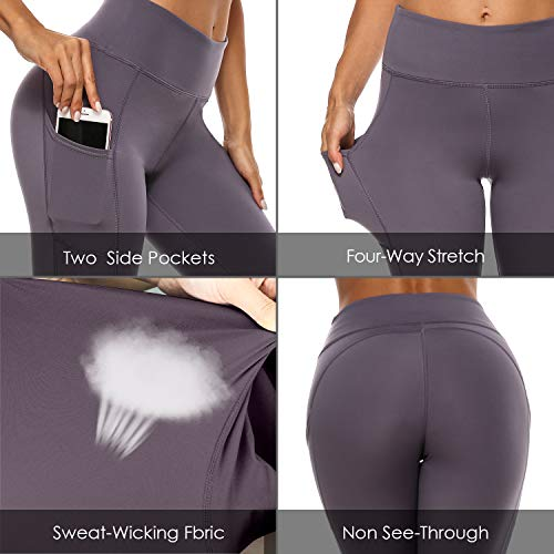 High Waist Yoga Pants with Pockets Ultra Soft Workout Pants for Women Tummy Control Yoga Leggings (Purple, X-Large)