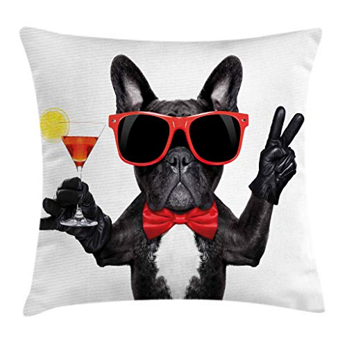 Ambesonne Funny Throw Pillow Cushion Cover, French Bulldog Holding Martini Cocktail Ready for the Party Nightlife Joy Print, Decorative Square Accent Pillow Case, 18 X 18 Inches, Black Red White by Ambesonne