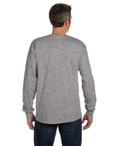 Hanes Men's TAGLESS Long-Sleeve T-Shirt with Pocket_Light - Cotton Tagless T-shirt Ringer