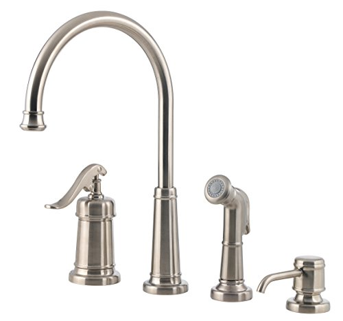 - Pfister LG264YPK Ashfield 1-Handle Kitchen Faucet with Side Spray & Soap Dispenser, Brushed Nickel, 1.8 gpm