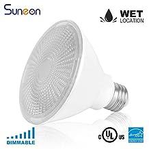 SUNEON Led Par30 2700k Warm White Short Neck Dimmable - 10w 75w Equivalent Par30s Spotlight Bulb - 120v E26 Ul-listed and Energy Star