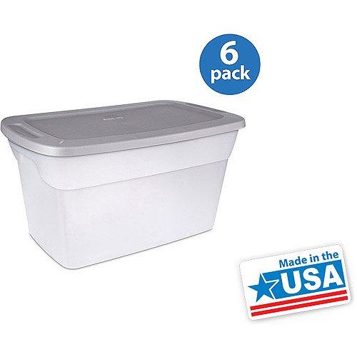 Sterilite 30 Gallon Tote Box- Clear, Set Of 6 (30 Gallon Tote)