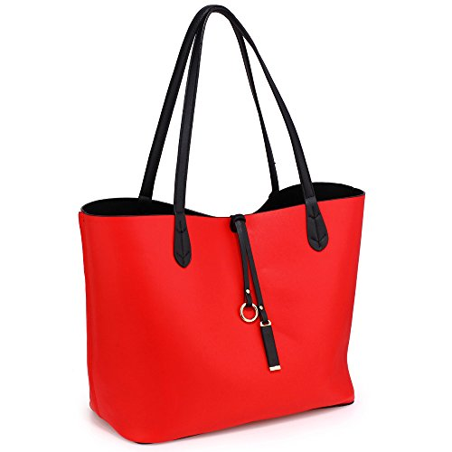 Reversible Womens Design Look Handbags Unique 2 leather Bags Red Size Ladies Faux Designer Shoulder Black Large 4qrqxTd