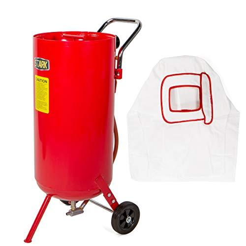 Stark 20 Gallon Air Sandblaster Portable Sand Blaster Air Media Abrasive Blasting Tank Deadman w/Handle and Wheel, Red