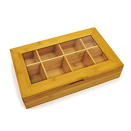 Bamboo Tea Box Storage Organizer With See Through Lid, 8 Adjustable Chest Compartments, Natural Bamboo Wooden Finish Tea Bag Organizer