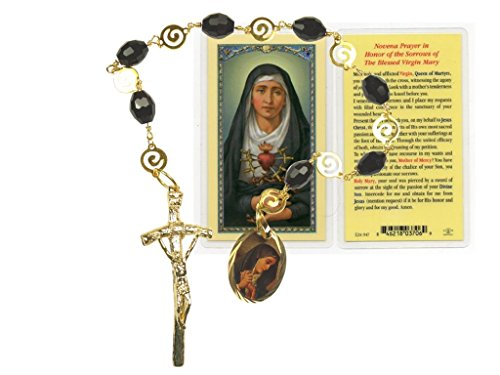 Sorrowful Mother La Dolorosa Gold Overlay and Jet Lignite (Azabache) Polished Beads Chaplet with Papal Crucifix Free Prayer Card Blessed By HIS Holiness Available in English or Spanish (spanish)