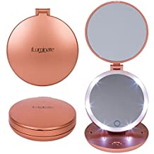 iLuminate Folding LED Travel Mirror, 1X and 5X Magnifying Makeup Mirror with Lights, Battery Operated Handheld Cosmetic Mirror, Batteries Included, Rose Gold