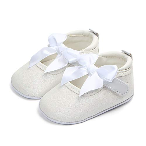 Cindear Infant Baby Girls Ballet Flat Sparkly Stars Bowknot Wedding Princess Dress Shoes White 0-6 Months