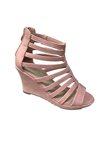 Cage Inspired Moda Blush Gladiator Sandal Dark Strappy Wedge Top Womens 7 Bird Lord p04nqZ