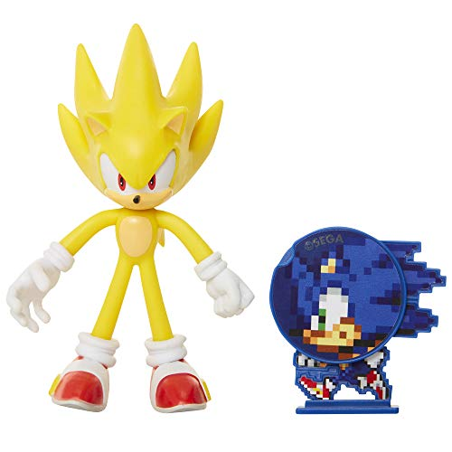 Sonic The Hedgehog Collectible Super Sonic 4″ Bendable Flexible Action Figure with Bendable Limbs & Spinable Friend Disk Accessory Perfect for Kids & Collectors Alike! for Ages 3+