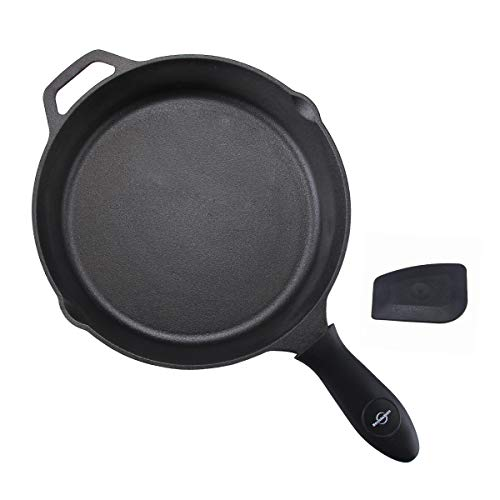 Pre-Seasoned Cast Iron Skillet 12 Inch with Removable Silicone Handle Grip and Pan Scraper, Indoor and Outdoor Use, Oven, Grill, Stovetop, Induction Safe (Paella 12' Pan)