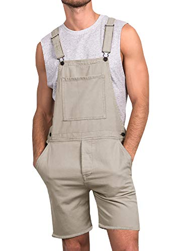 (Runcati Mens Bib Overall Shorts Lightweight Cotton Casual Loose Fit Denim Jumpersuit Walkshort Pockets Khaki Rompers)