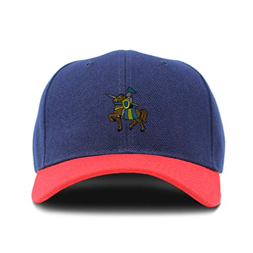 Bi Color Baseball Cap Knight On The Horse Embroidery Acrylic Dad Hats for Men & Women Strap Closure Navy Red Design Only One Size]()