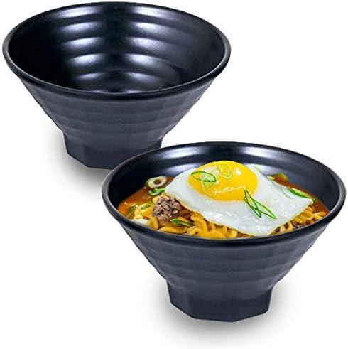 Set of 2 Superior Quality Japanese Black Melamine 40 oz Large Bowls Multi Purpose Bowls Rice Noodle Soup Udon Pho Tayo Ramen Bowls 8 D Happy Sales HSMB-2RGBK Black