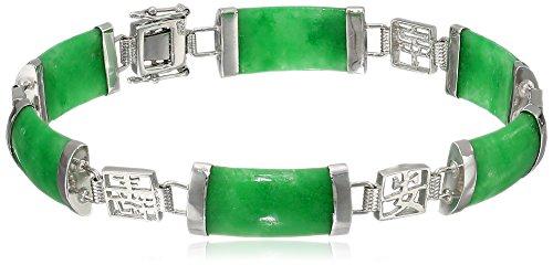 Rhodium-Plated Sterling Silver Green Jade Asian Script Link Bracelet 414hxaTlmBL