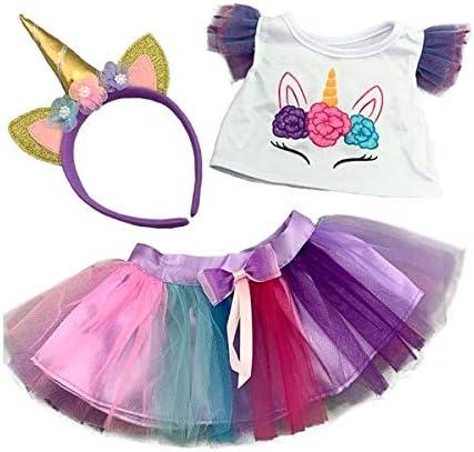 """Teddy Mountain NY Magical Fantasy Unicorn w/ Rainbow Tutu and Headband Teddy Bear Clothes Build-a-Bear and Make Your Own Stuffed Animals (8"""")"""