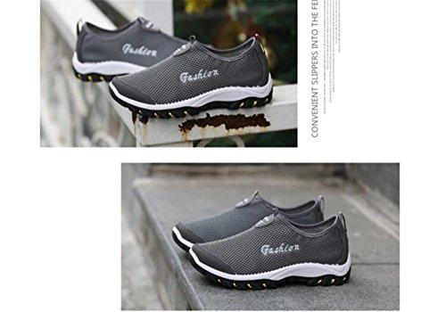 Lisyline Hommes Maille Respirant Courant Sport Tennis Extérieur Chaussures Glisser Sur Aqua Chaussures Deau Gris