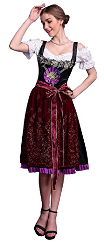 Killreal Women's Deluxe Beer Girl Oktoberfest Maid Costume Black-Red Small/Medium (Beer Garden Girl Costume)