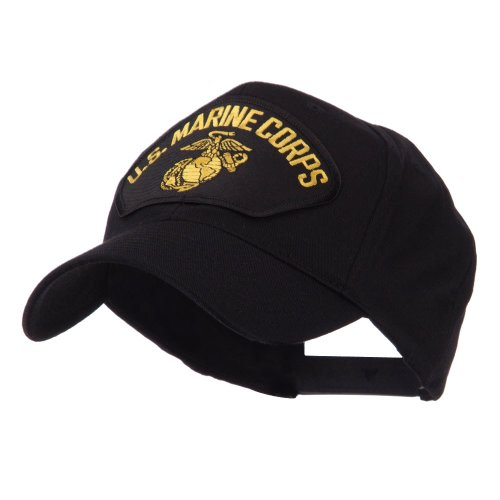 e4Hats.com US Marine Fan Shape Large Patch Cap - Black Corps OSFM