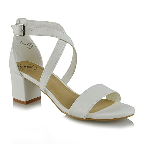 2b55b2fd086 ESSEX GLAM Womens Strappy Block Low Heel Ankle Strap White Synthetic  Leather Evening Sandals 10 B