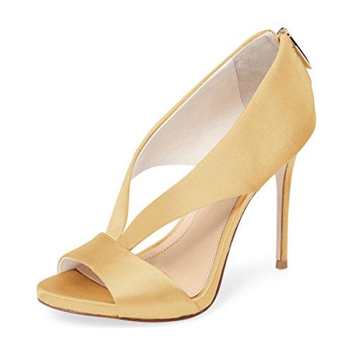 Fsj Mujeres Zapatillas De Satén De Tacón Alto Peep Toe High Stilettos Nupcial Zapatos De Boda Tamaño 4-15 Ee. Uu. Amarillo