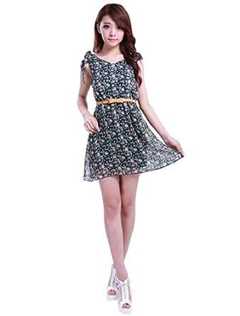 Allegra K Women Stretchy Self Tie Bowknot Shoulder Flower Print V-Neck Dress