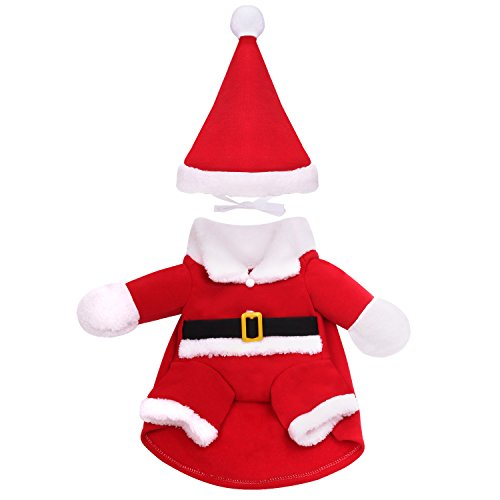 Pawaboo Pet Costume, Christmas Collection Pet Dog Cat Costume Santa Suit Outfit Jumpsuit Clothes with Cap for Halloween Christmas Dressing Up, Large Size, Red]()