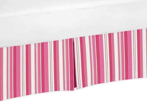 Pink, Green and White Stripe Crib Bed Skirt Dust Ruffle for Girls Olivia Collection Baby Bedding Sets from Sweet Jojo Designs