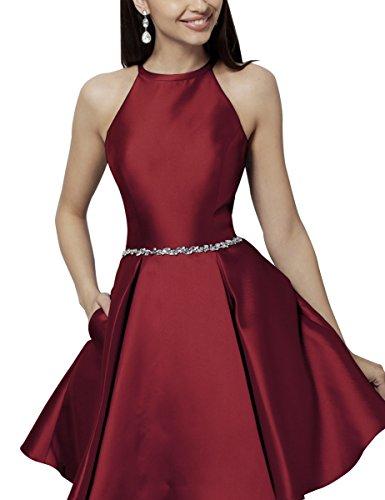 Beaded Empire Halter - Halter Homecoming Dresses Pocket Beaded Satin Short Prom Dresses Junior Burgundy Size 8
