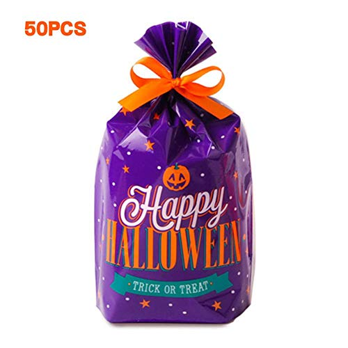 Bags Wrapping Supplies - 50pcs Halloween Pumpkin Cookie Bag Candy Small Gift Trick Or Treat Bags - Bag Bag Cute Alien Kraft Neko Wedding Gift Gift Gift Halloween Halloween Paper -