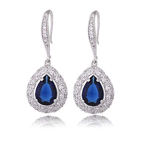 Sapphire Earrings for Women - Silver Bridal Teardrop Blue Crystal Cubic Zirconia Drop Earring for Wedding Party Prom Fashion Jewelry for Bride Bridesmaids September Birthstone Birthday Gift (Dangling Cut Earrings Sapphire)