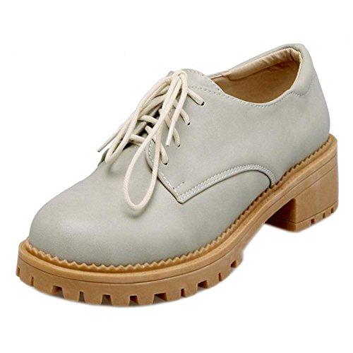 Women's Pumps TAOFFEN Lace Blue Up Shoes wSqd6WfUd
