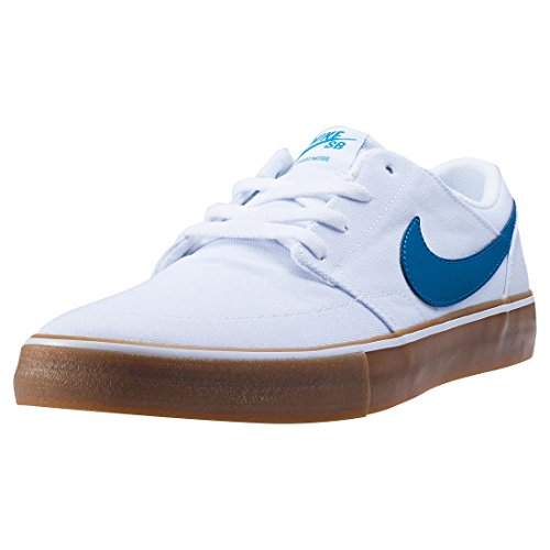 Nike NIKE SB PORTMORE II SOLAR CNVS mens skateboarding-shoes 880268-149_11 - WHITE/INDUSTRIAL BLUE-GUM LIGHT BROWN