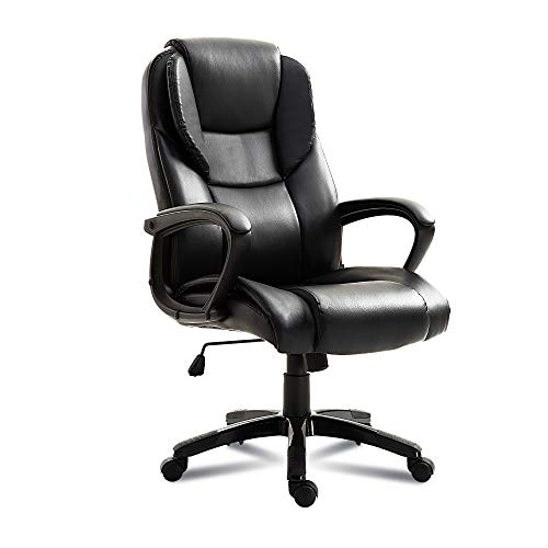 Leather Office Chair,High Back Thick Padding Ergonomic Swivel Executive Chair with Headrest and Lumbar Support Black