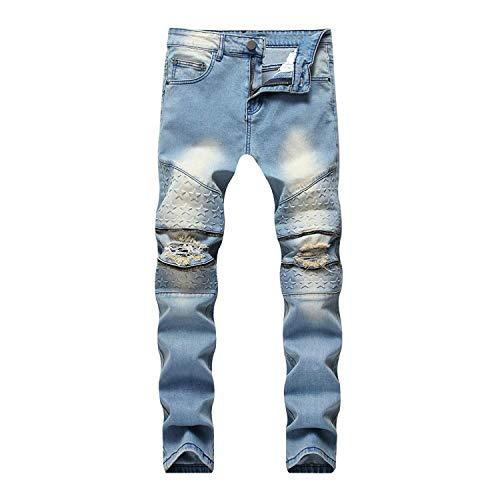 Skinny Slim Fit Casual Pantaloni Distrutti Blu Moderna Strappati Jeans Uomo TwadnPq